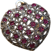 Pendant Garnet Filigree Heart Puffy 925