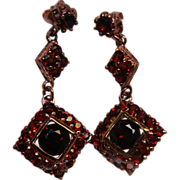 Garnets Earrings Posts Dangle Rose Gold Washed