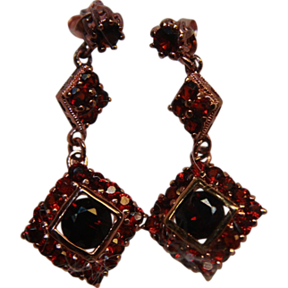 Garnets Earrings Posts Dangle Rose Gold Washed