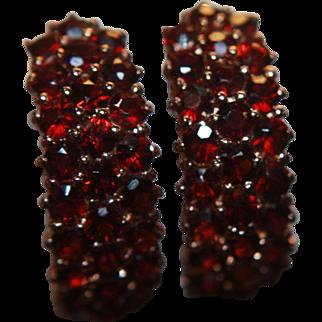 Garnet Earrings Hoops Clusters Genuine Rose Gold Washed