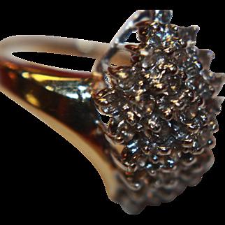 14K Diamond Cluster Ring Genuine