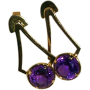14K Amethyst Earrings Brazilian Handmade