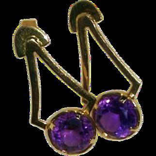 14K Amethyst Earrings Brazilian Handmade