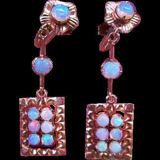 14k Opal Earrings Dangle Victorian Rose Gold
