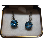 Blue Topaz Earrings Large Sterling Silver Original Box