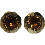 14k Citrine Earrings Studs Post Pierced Large 6mm