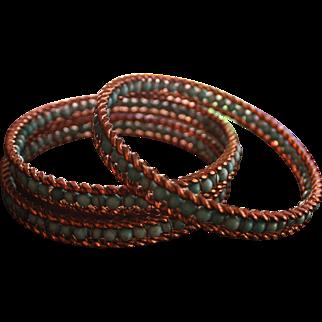 Turquoise Bangle Bracelets Bead Genuine Gold Wash Large