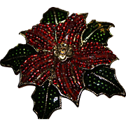 Christmas Pin Brooch Poinsettia Crystal Vintage