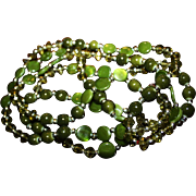 Vintage Necklace Long Olive Glass Flapper