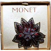 Monet Christmas Poinsettia Pin Brooch Original Box