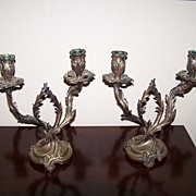 Antique Candelabras French Rococo Bronze Pair 19th Century