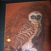 Vintage Retro Mid Century Owl Picture Painting Pastel Signed