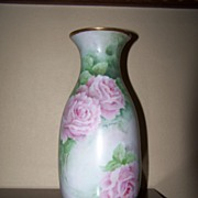 Antique HP Vase Roses Vase Blank Artist Signed Hand Painted
