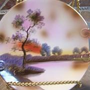Vintage Old Noritake Plate Scene Lake Display
