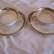 Vintage Noritake China Gacahad 103004 Double Soup Bowls (2) w/ Saucers (2) Black Gold Band