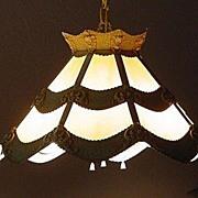 Slag Glass Light Chandelier Iron Vintage Unique Design