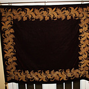 Antique Huge Tapestry Velvet Gold Metallic Decoration Burgundy Large
