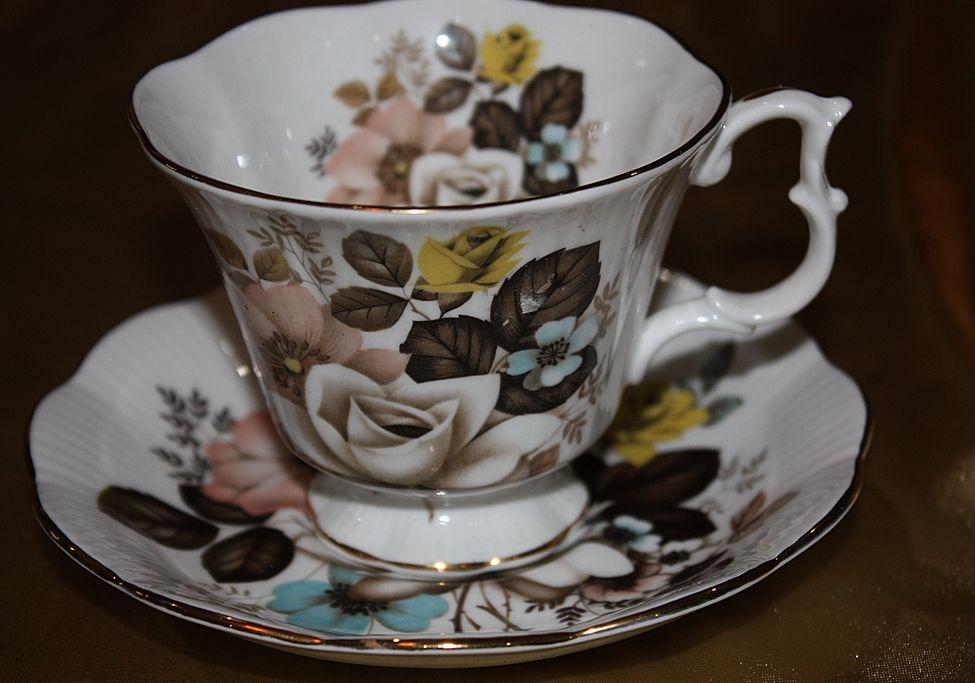 Vintage English China Demitasse Cup Saucer Set Royal Albert