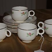 SALE Vintage Homer Laughlin China Demitasse Cups Saucers Set Eggshell 1944