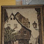 Vintage Tapestry Marked: La France Art Company 1920s Picture Scene