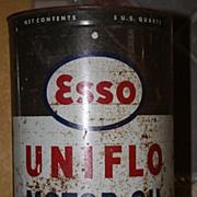 Vintage Esso Logo Oil Can 5 Quart Memorabilia Exxon Happy Motoring
