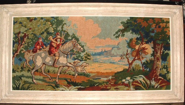 Needlework Tapestry Hunt Scene Fox Hounds Belguim Embroidery