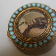 Antique Snuff Pill Box Italy Madame de Pompadour Stones