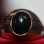 SALE Vintage 14K 925 Ring Onyx Men's Gent's Gold Sterling Silver
