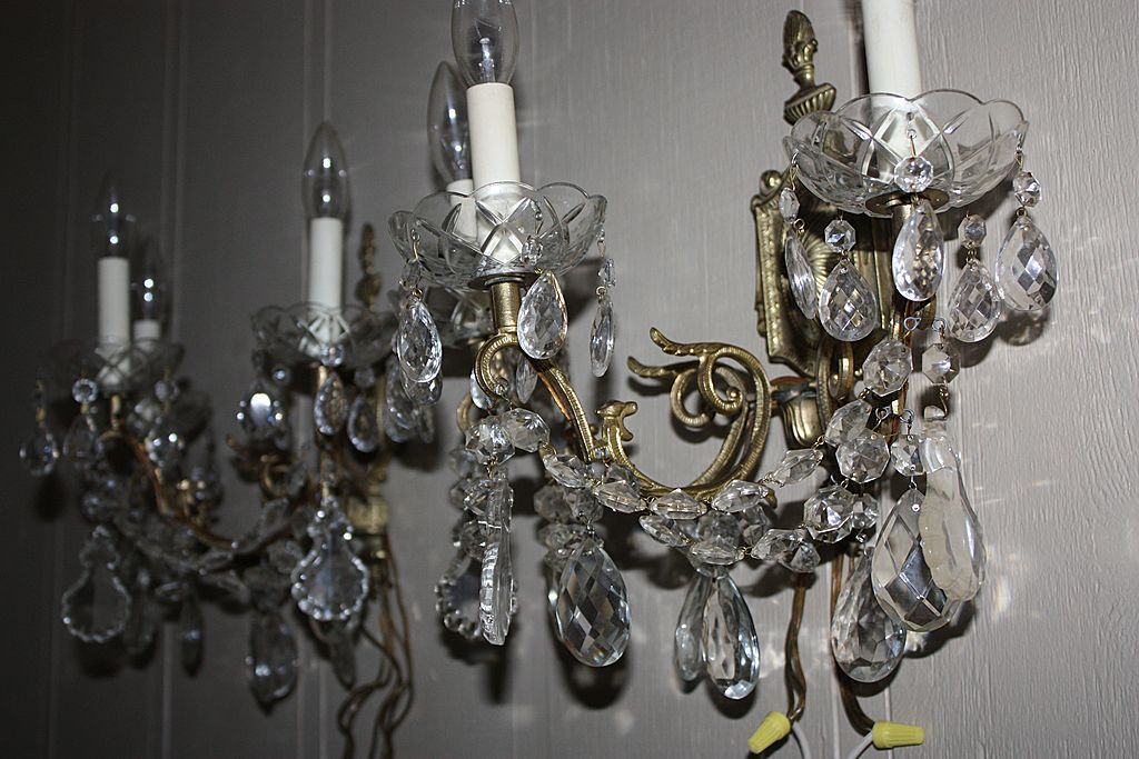 Antique Pair Crystal Sconce Large Set Matching Swags