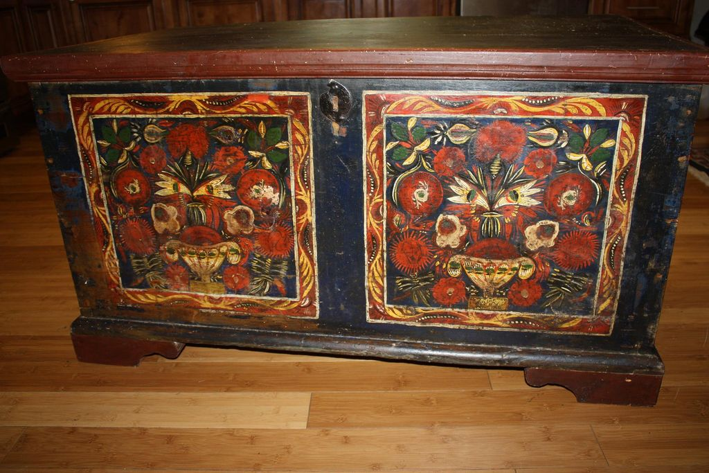 Antique Pennsylvania Painted Blanket Chest Trunk with Rare Provenance Signatures