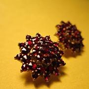 "Antique Victorian Garnet Starburst Earrings Studs Bohemian Rose 3/4""  inch"