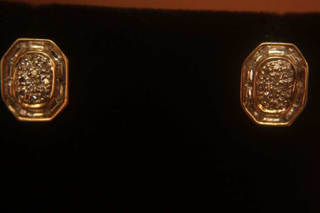 Antique 10K Diamond Earrings Studs Cluster Screw Threaded Posts