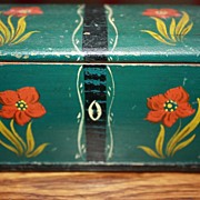 Antique Miniature Blanket Chest Box 19c Signed Provenance Hand Painted