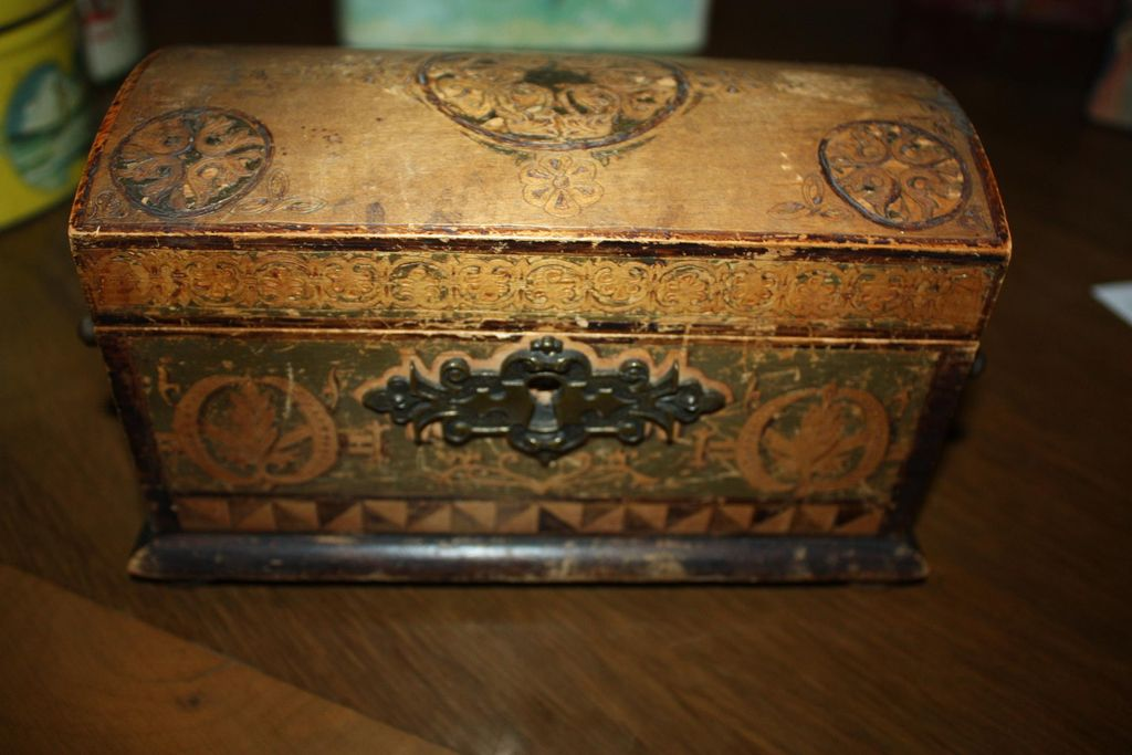 Antique 1895 German Chest Box Painted Etched Motif Dated Signed
