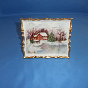 Vintage '76 Christmas Porcelain Plaque China Gold HP Signed Winter Wonder
