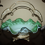 Bridal Wedding Bride's Basket Green Glass Ornate Footed Silver Plate