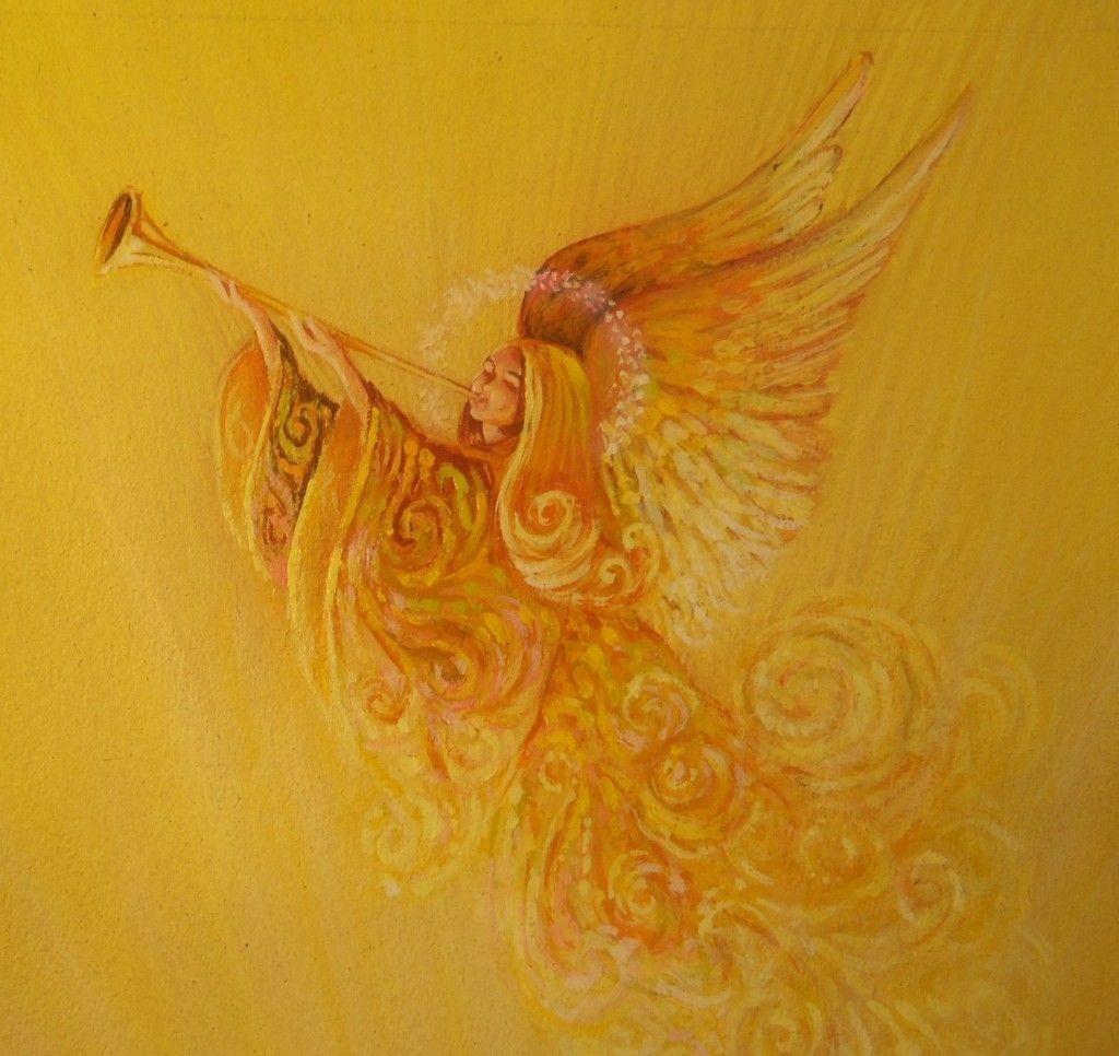 Vintage Norcross Painting Original Art Christmas Angel