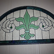 "Vintage Stained Glass Lead Panel Fleur De Lis 34"" x 18"""