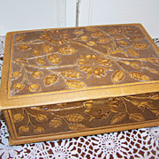 Vintage Trinket Jewelry Box Embossed Tufted