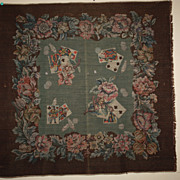 Very Old Tapestry Table Cover Playing Cards Wool Subtle Colors