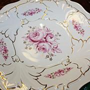 German Weimar Porcelain Bowl Large Roses Gold