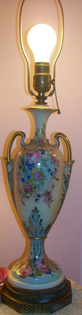 Antique Limoges Style Lamp Pink Roses Aqua Pull Chain