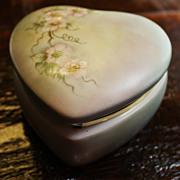 Vintage Heart Porcelain Box Trinket Dresser Floral Hand Painted