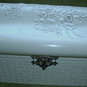 Antique 1892 Box Celluloid Floral Creme Chest Trunk Dated Signed