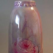 SALE JPL Limoges Vase Pouyat Iridescent Roses Raised Rare Glaze
