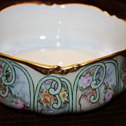 Antique Limoges JPL Bowl Pouyat Roses Gold Signed Wonderful