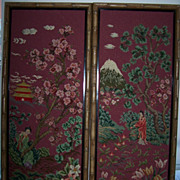 Tapestry Embroidery Asian Oriental Pair Set Large Bamboo Frames