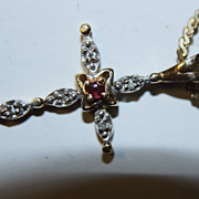 14K Ruby Cross Pendant Natural Genuine Diamond Accents