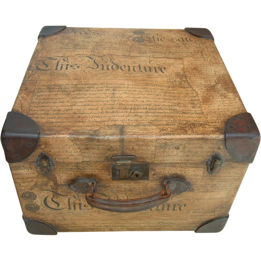 Antique English Decoupage Small Trunk From