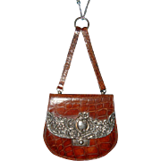 Antique English Silver and Crocodile Hanging Purse Handbag